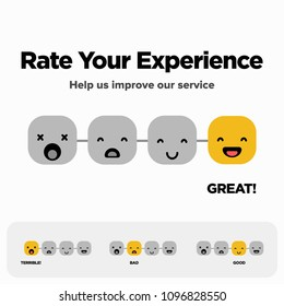 Rate Your Experience Help Us Improve Our Service Slider Scale with Happy to Sad Emoji Flat Style Vector Illustration