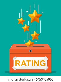 Rating box. Reviews five stars. Testimonials, rating, feedback, survey, quality and review. Vector illustrayion in flat style