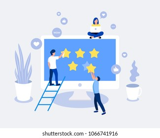 Rating, feedback, comments design concept. Small people consider the rating 5 stars. Laptop screen with stars. Trendy flat style. Vector illustration.