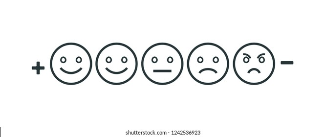 Rating feedback scale isolated line emoticon concept. Emotion rating feedback opinion positive or negative.