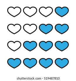 Rating with flat hearts, icons vector illustration eps10. Isolated badge for website or app - stock infographics