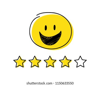 Rating icon - four stars. Yellow coloured happy stickman. Vector.