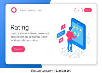 Rating isometric concept. Man puts a rating of 5 stars in a smartphone. Flat 3d style. Landing page template. Vector illustration.