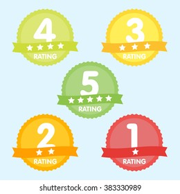 Rating label with five different label with star and place icon.