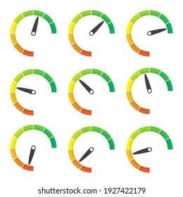 Rating meter gauge element in a flat design. Vector illustration
