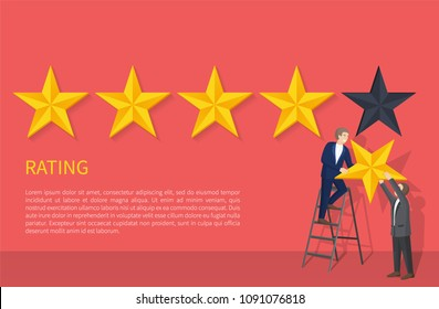 Rating poster with two man on ladder hanging fifth star, appreciation of high level grade, evaluation ranking sign, businessman giving highest mark vector