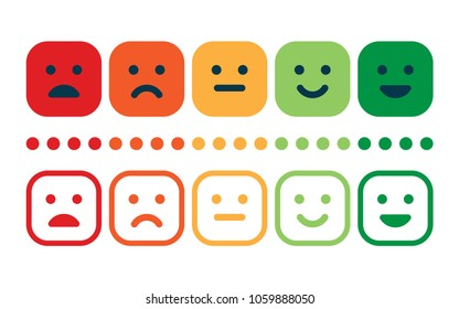 Rating satisfaction. Feedback in form of emotions. Excellent, good, normal, bad awful Vector illustration