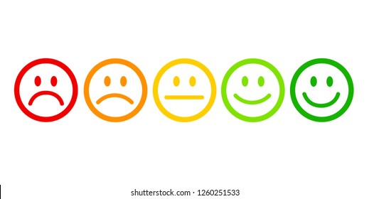 rating satisfaction feedback in form of emotions excellent good normal bad awful vector illustration