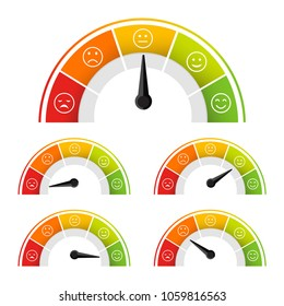 rating satisfaction mood meter in flat style vector isolated on white