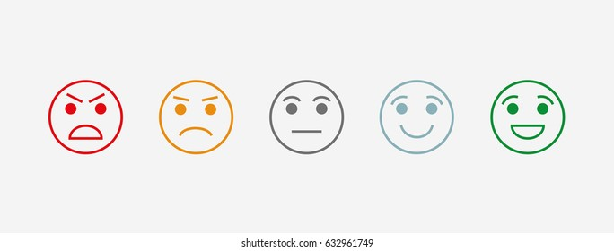 Rating satisfaction. Vector icon. The range of emotions. 5 kinds of moods. User experience. Feedback in the form of emotion. Excellent, good, normal, bad, awful.