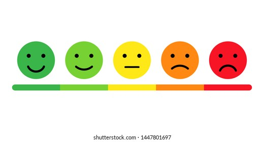 Rating scale in the form of mood emoticons. Feedback or rating. Vector illustration EPS 10