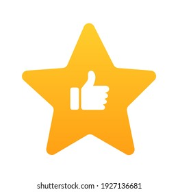 Rating star with thumb up. Customer review icon.