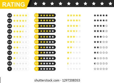 Rating stars badges. Feedback or Rating. Rank, level of satisfaction rating. Five stars customer product rating review.Vector illustration