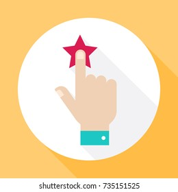 Rating stars. Hand with a red star. Icon vector with long shadow. Flat design style.