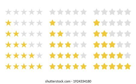rating stars set, customer feedback five star template