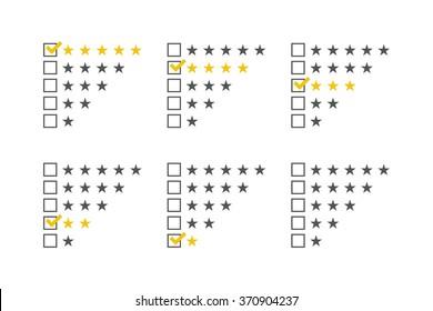 Rating stars set. Stars rating template. Stars checklist rating collection. Vector illustration.