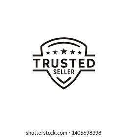 Rating Stars with Shield for Minimalist Trusted Seller Stamp Icon Logo Design