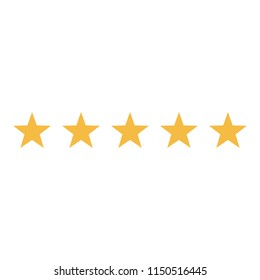 Rating stars vector icon. Five stars customer product rating review flat icon for apps and websites