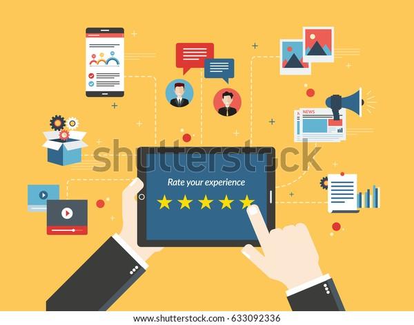 Sistema de clasificación en la pantalla del comprimido con estrellas. Comentarios y calificación en chat, medios sociales, marketing, video, mercado en línea, fotos y correo electrónico en la ilustración vectorial de diseño plano.