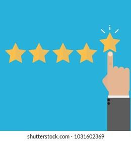 Rating vector illustration. Hand puts star rating click icon flat design