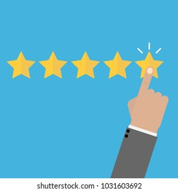 Rating vector illustration. Hand puts star rating click icon flat design
