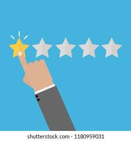 Rating vector illustration. Hand puts star rating click. Icon flat design