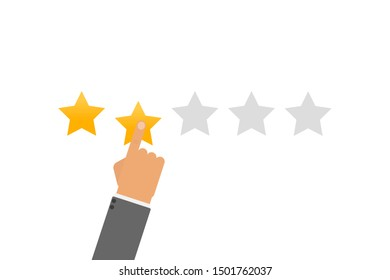 Rating vector illustration. Hand puts star rating click icon in flat design