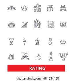 Ratings, assesment, classification, review, ranking, evaluation, list,order,score line icons. Editable strokes. Flat design vector illustration symbol concept. Linear signs isolated on background