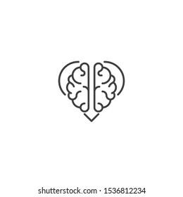 Rational love, brain heart. Vector logo icon template