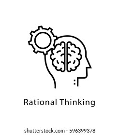Rational Thinking Vector Line Icon
