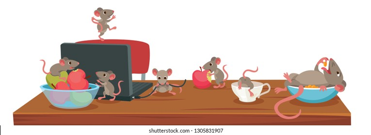 rats have fun in the house. Rat-mother lies in a bowl, children rats gnaw wire, apples, climb into the bowl.
