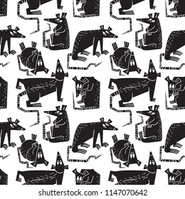 Rats and mouse seamless pattern. Background with cute rodents characters. Vector design element for textile, fabric, surfaces. Black and white pets fancy rats