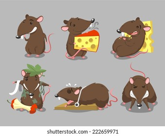 Rats Rodent Cheese Trap set, vector illustration cartoon.