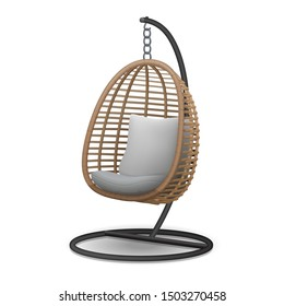 Rattan wicker cocoon garden swing chair hanged on frame isolated on white background. 3d vector illustration