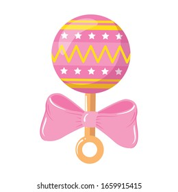 rattle baby toy with bow ribbon isolated icon vector illustration design