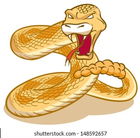 Rattlesnake curled and ready to strike