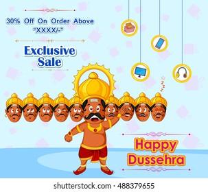 Ravana offering Happy Dussehra Sale in vector