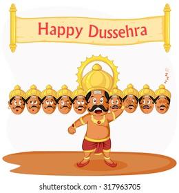 Ravana with ten head for Dussehra in vector