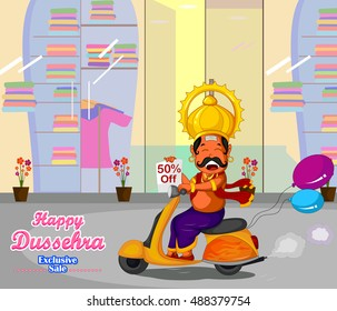 Ravana wishing Happy Dussehra offer riding on scooter in vector