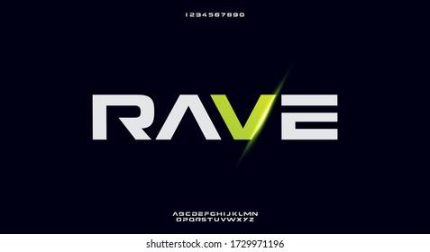 Rave, a bold modern sporty typography alphabet font. vector illustration design - Shutterstock ID 1729971196