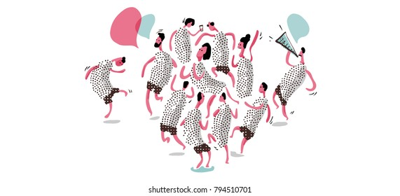 Rave party with dance and music. Artsy Vector doodle sketch style