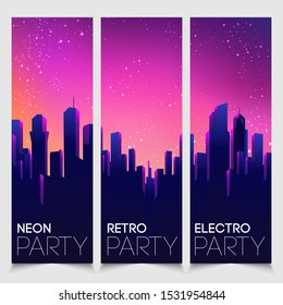Rave party Flyer design template set in 1980s style. Retro Futurism. Vector futuristic synth wave illustration. 80s Retro poster Background with Night City Skyline.