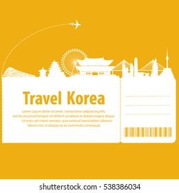 ravel to South Korea.  South Korea travel by plane. vector illustration