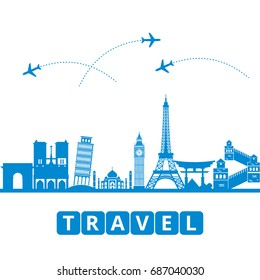 ravel and tourism and transport .The landmarks of the world as the background