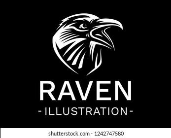 Raven bird head - vector illustration, logo, emblem black and white, one color.