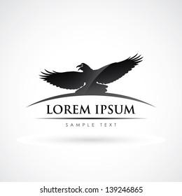 Raven bird label - vector illustration