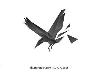 raven, bird polygonal for logo modern style. Low poly vector illustration