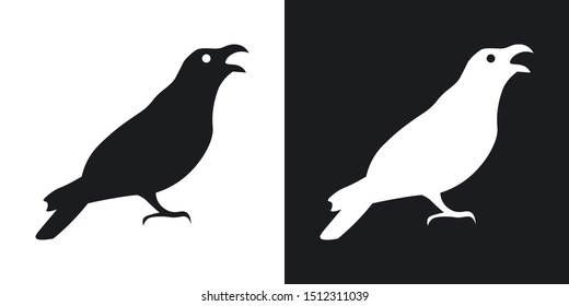 Raven or crow silhouette, halloween illustration. Two-tone vector icon on black and white background