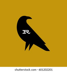 Raven. Fat style vector logo mark template or icon