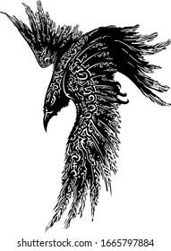 raven in flight. mystical raven. Sketch of a raven tattoo with hieroglyphs and symbols. mysticism